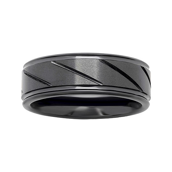 Personalized Mens 7mm Comfort Fit Diagonal Stripe Black Ceramic Wedding Band