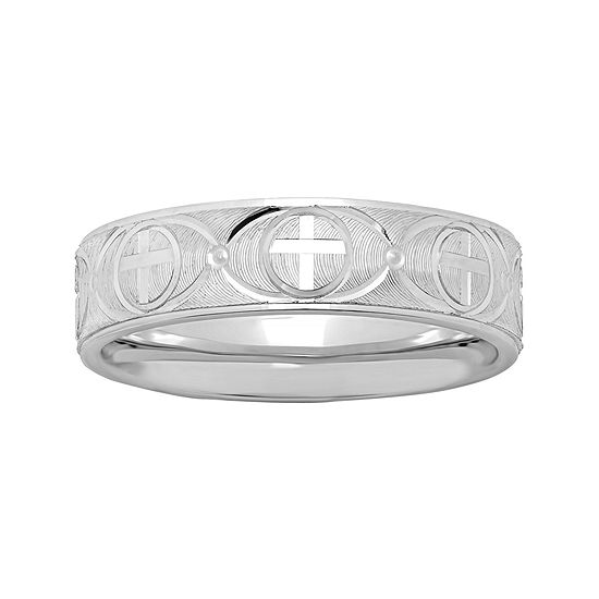 Mens Personalized 6mm Comfort Fit Sterling Silver Cross Wedding Band