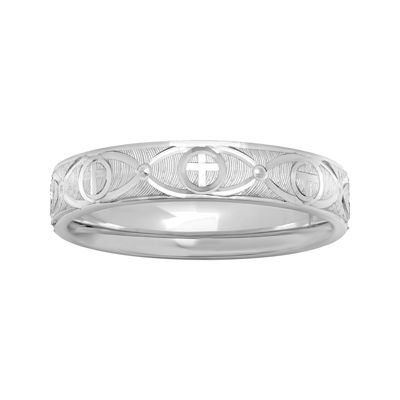 Personalized 4mm Comfort Fit Sterling Silver Cross Wedding Band