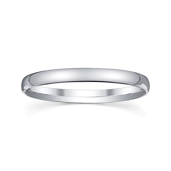 Personalized 2mm Comfort Fit Domed Sterling Silver Wedding Band