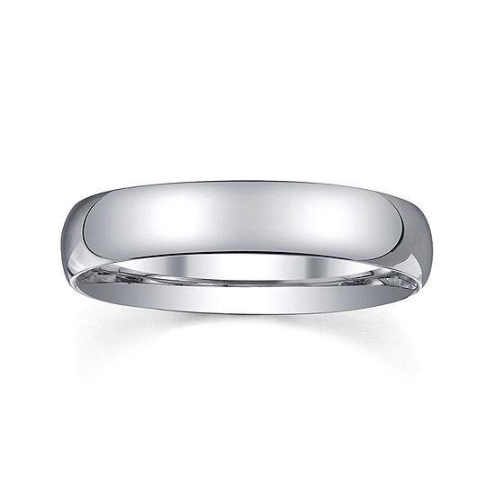 Personalized Mens 4mm Comfort Fit Domed Sterling Silver Wedding Band