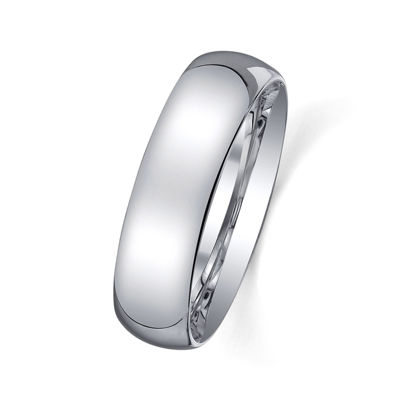 Personalized Mens 6mm Comfort Fit Domed Sterling Silver Wedding Band