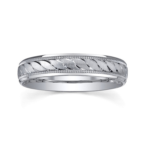 Personalized 4mm Comfort Fit Swirled Sterling Silver Wedding Band