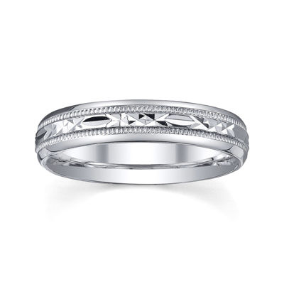 Personalized 4mm Comfort Fit Criss-Cross Sterling Silver Wedding Band