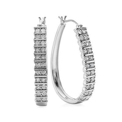 1/4 CT. T.W. Diamond 36mm Sterling Silver Hoop Earrings