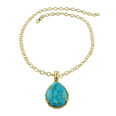 Art Smith by BARSE Genuine Turquoise Teardrop Pendant Necklace