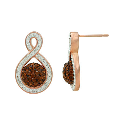 White and Champagne Crystal 14K Rose Gold Over Sterling Silver Twist Earrings