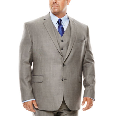 Stafford® Travel Gray Sharkskin Suit Jacket - Portly Fit
