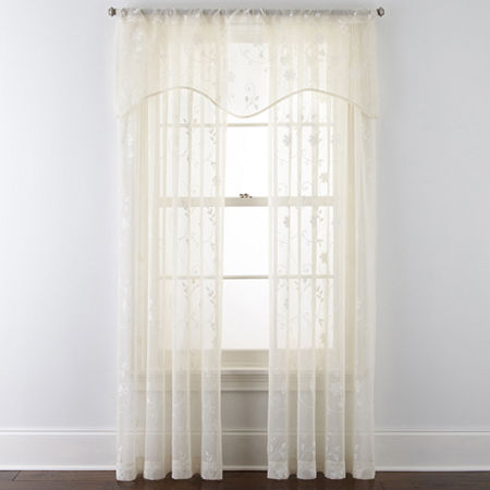 JCPenney Home Malta Sheer Rod-Pocket Single Curtain Panel, One Size , White