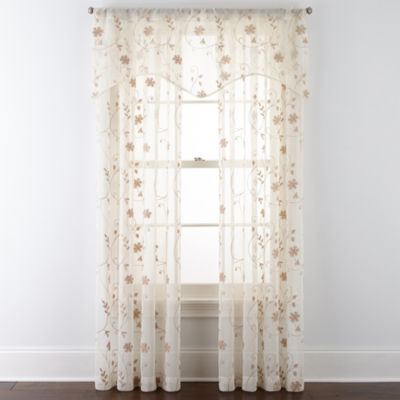 JCPenney Home Malta Sheer Rod-Pocket Single Curtain Panel