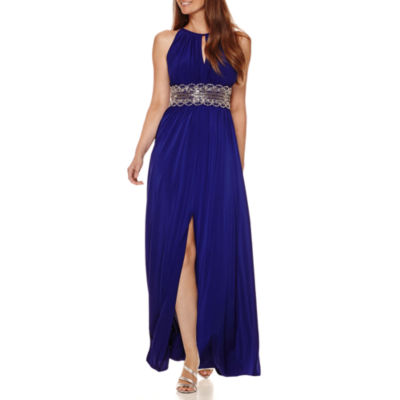 R&M Richards Sleeveless Beaded Formal Halter Gown