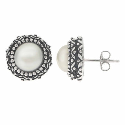 Cultured Freshwater Button Pearl Oxidized Sterling Silver Stud Earrings