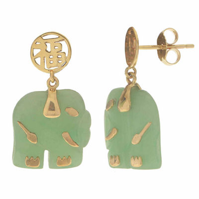 Genuine Jade 10K Yellow Gold Elephant Earrings