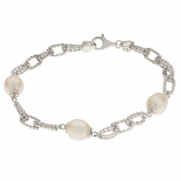 Fine Jewelry Cultured Freshwater Pearl Sterling Silver Station Chain Bracelet 6DqfcPlx