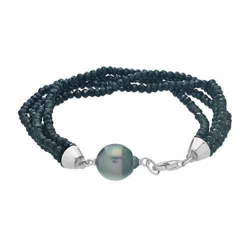 Genuine Tahitian Pearl & Black Spinel Sterling Silver Bead Bracelet