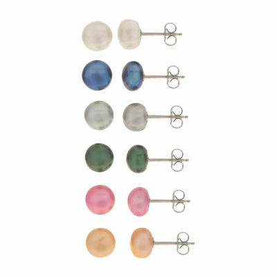 Cultured Freshwater Button Pearl Sterling Silver 6pc Stud Earring Set