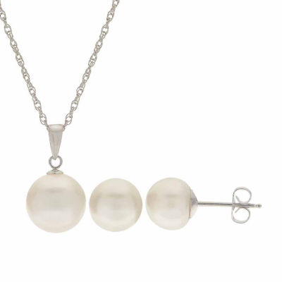 Cultured Freshwater Pearl Sterling Silver Stud Earring & Pendant 2-pc Set