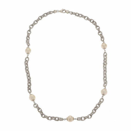 Cultured Freshwater Button Pearl Diamond-Cut Sterling Silver Chain Necklace
