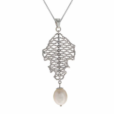 Cultured Freshwater Pearl Sterling Silver Lace Drop Pendant