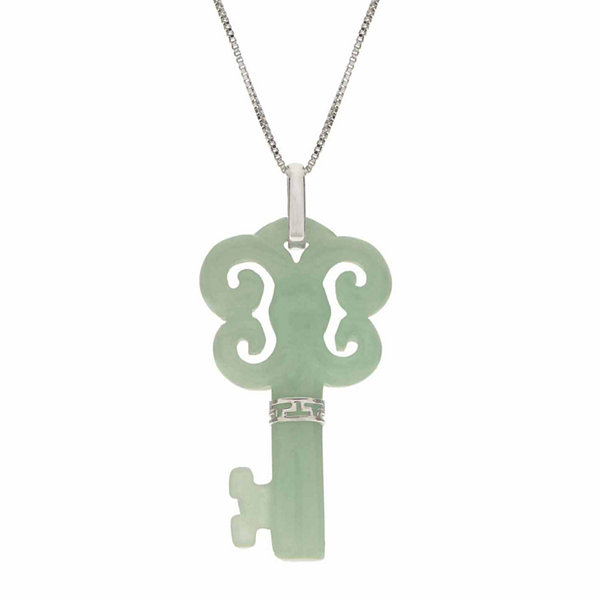 Genuine Jade Sterling Silver Butterfly Key Pendant Necklace