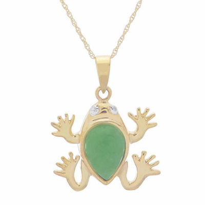 Genuine Jade & Diamond-Accent 10K Yellow Gold Frog Pendant Necklace
