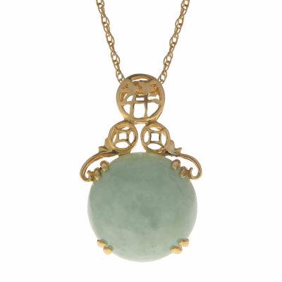 Genuine Jade 14K Yellow Gold Drop Pendant Necklace