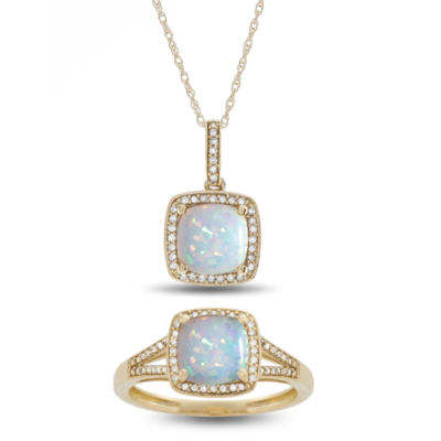 Lab Created Multi Color Opal 10K Gold 2-pc. Jewelry Set