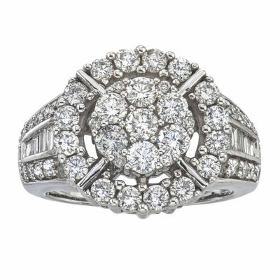Diamond Blossom Womens 2 CT. T.W. Genuine White Diamond 14K Gold Cocktail Ring