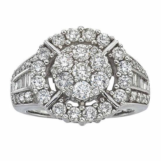 Diamond Blossom Womens 2 CT. T.W. Genuine White Diamond 14K Gold Cocktail Ring