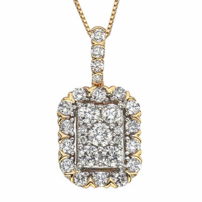 Diamond Blossom Womens 1 CT. T.W. Genuine White Diamond 14K Gold Pendant Necklace