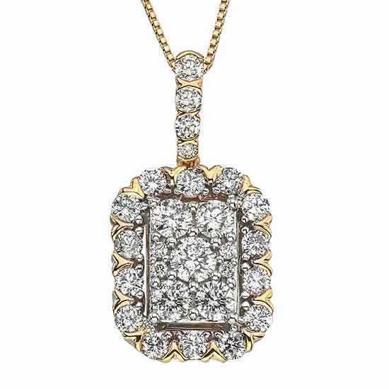 Diamond Blossom Womens 1 CT. T.W. Genuine White Diamond 14K Gold Pendant Necklace
