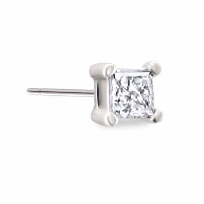 Diamond Accent Princess White Diamond 10K Gold Single Stud Earring