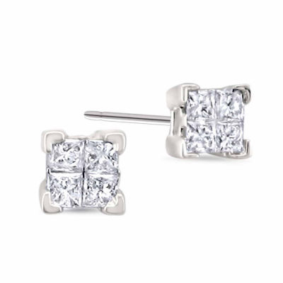 1/4 CT. T.W. Princess White Diamond 14K Gold Stud Earrings