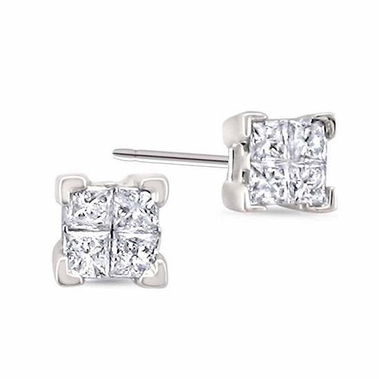 1/4 CT. T.W. Genuine White Diamond 14K Gold Stud Earrings