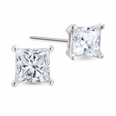 1/4 CT. T.W. Princess White Diamond Platinum Stud Earrings