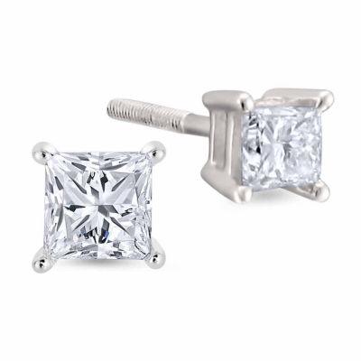 1/2 CT. T.W. Princess White Diamond Platinum Stud Earrings