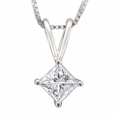 Womens 1/3 CT. T.W. Genuine White Diamond Platinum Pendant Necklace