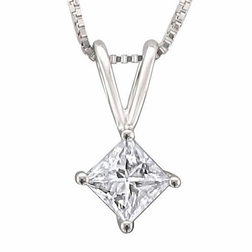 Womens 1/3 CT. T.W. White Diamond Platinum Pendant Necklace