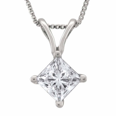 Womens 1/2 CT. T.W. Genuine White Diamond Platinum Pendant Necklace