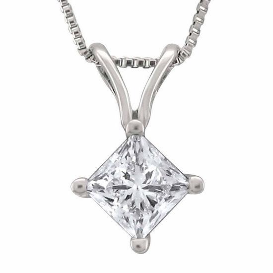 Womens 1/2 CT. T.W. Genuine White Diamond Platinum Pendant Necklace