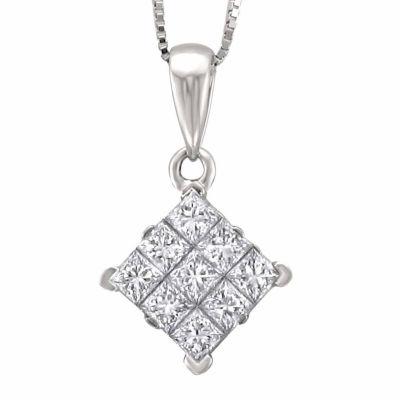 Womens 3/4 CT. T.W. Genuine White Diamond 14K Gold Pendant Necklace