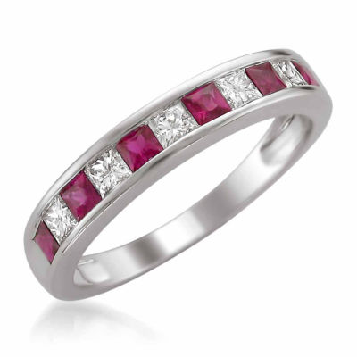 Womens 3/8 CT. T.W. Diamond and  Red Lead Glass-Filled Ruby Wedding Band in 14K White Gold