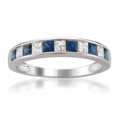 Modern Bride Gemstone Womens 3.5 Mm 3/8 CT. T.W. Blue Sapphire 14K Gold Wedding Band