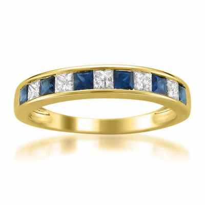 Modern Bride Gemstone Womens 3.5 Mm 3/8 CT. T.W. Blue Sapphire 14K Gold Wedding Band