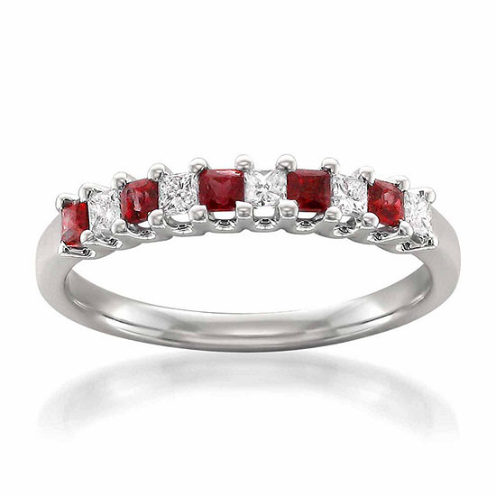 Womens 1/5 CT. T.W. Red Lead Glass-Filled Ruby 14K Gold Wedding Band