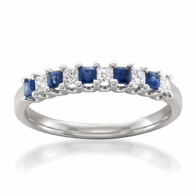 Modern Bride Gemstone Womens 2.5 Mm 1/5 CT. T.W. Blue Sapphire 14K Gold Wedding Band