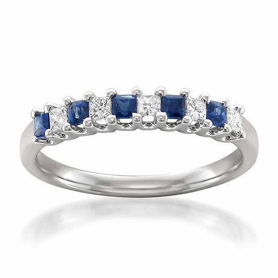 Modern Bride Gemstone Womens 2.5 MM 1/5 CT. T.W. Genuine Blue Sapphire 14K Gold Wedding Band