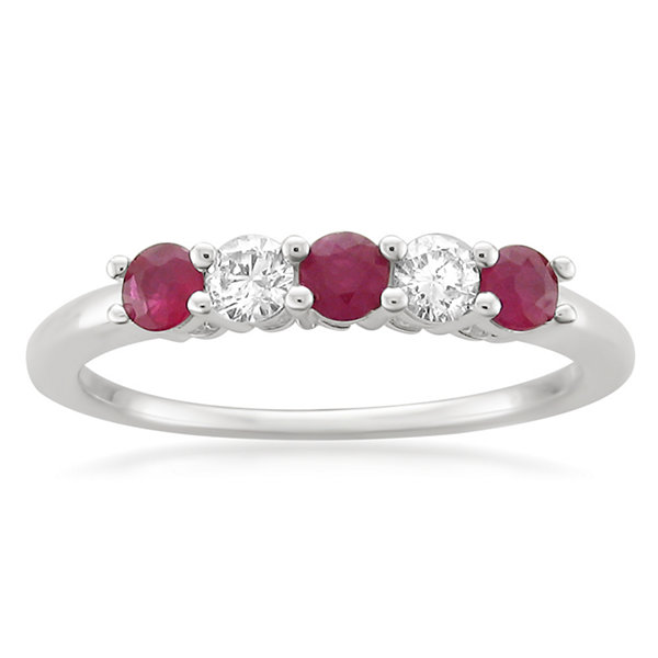 Womens 1/5 CT. T.W. Red Lead Glass-Filled Ruby Platinum Wedding Band