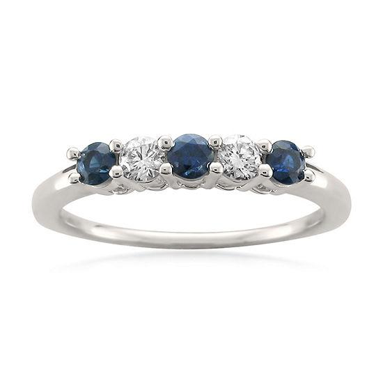 Modern Bride Gemstone Womens 3MM 1/5 CT. T.W. Genuine Blue Sapphire 14K Gold Wedding Band