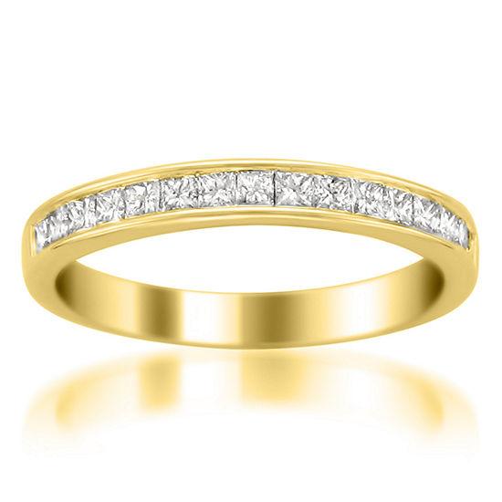 Womens 3 Mm 1/2 CT. T.W. Genuine White Diamond 14K Gold Wedding Band